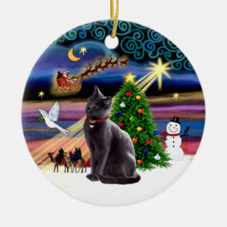 Xmas Magic - Russian Blue cat Double-Sided Ceramic Round Christmas Ornament