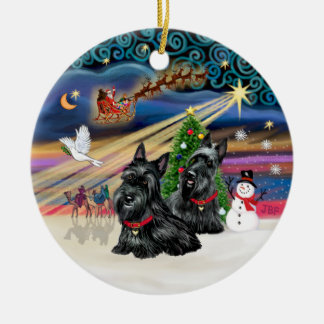 Xmas Magic - Scotties (TWO) Double-Sided Ceramic Round Christmas Ornament