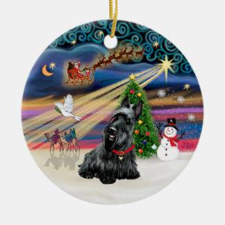 Xmas Magic - Scottish Terrier 3 Double-Sided Ceramic Round Christmas Ornament