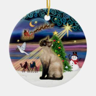 Xmas Magic - Seal Point Siamese Ceramic Ornament