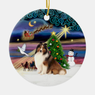 Xmas Magic - Sheltie #7 Double-Sided Ceramic Round Christmas Ornament