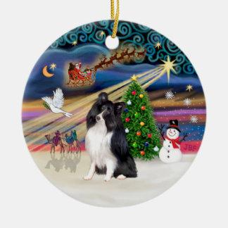 Xmas Magic - Sheltie (bi-black) Double-Sided Ceramic Round Christmas Ornament