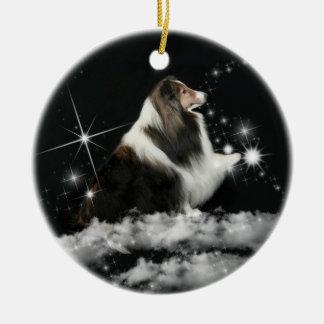 Xmas Magic Sheltie Double-Sided Ceramic Round Christmas Ornament