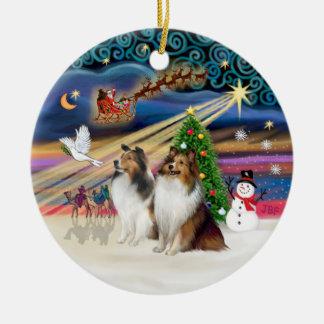 Xmas Magic - Shelties (TWO sable-white) Double-Sided Ceramic Round Christmas Ornament