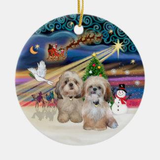 Xmas Magic - Shih Tzu (TWO - P+Y) Double-Sided Ceramic Round Christmas Ornament