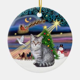 Xmas Magic - Silver Tabby cat Ceramic Ornament