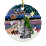 Xmas Magic - Silver Tabby cat Double-Sided Ceramic Round Christmas Ornament