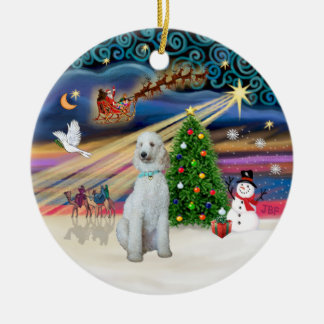Xmas Magic - Standard Poodle (cream/white) Double-Sided Ceramic Round Christmas Ornament