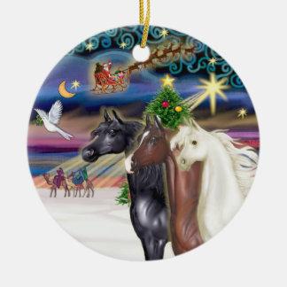 Xmas Magic - Three Arabian Horses Ceramic Ornament