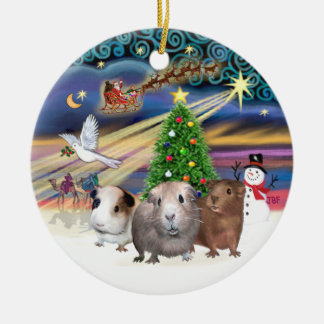 Xmas Magic - Three Guinea Pigs Double-Sided Ceramic Round Christmas Ornament