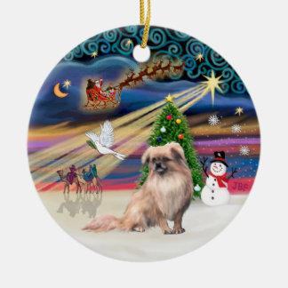 Xmas Magic - Tibetan Spaniel (fawn) Ceramic Ornament