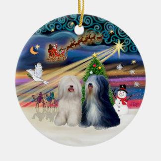 Xmas Magic - Tibetan Terriers (TWO) Ceramic Ornament