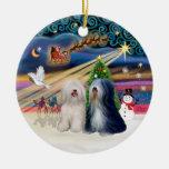 Xmas Magic - Tibetan Terriers (TWO) Christmas Tree Ornaments