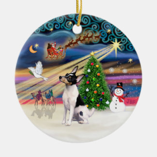 Xmas Magic - Toy Fox Terrier Double-Sided Ceramic Round Christmas Ornament