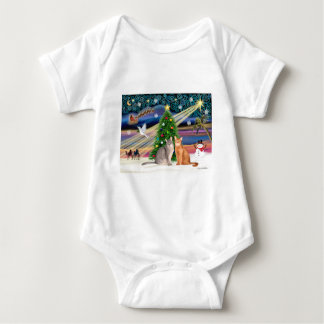 Xmas Magic - Two Abyssinian cats Baby Bodysuit