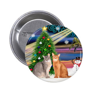 Xmas Magic - Two Abyssinian cats Button