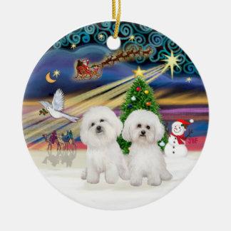 Xmas Magic - Two Bichon Frise Double-Sided Ceramic Round Christmas Ornament