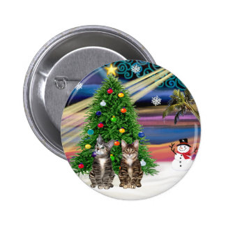 Xmas Magic - Two Brown Tabby cats Buttons