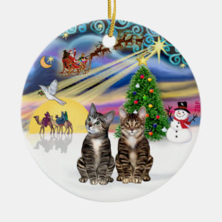 Xmas Magic - Two Brown Tabby cats Ceramic Ornament