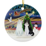 Xmas Magic - Two Cats - White   Black and White Ornaments