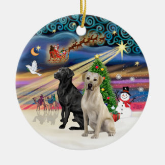Xmas Magic - Two Labradors (Black +Yellow) Ceramic Ornament