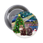 Xmas Magic - Two Maine Coon cats Pinback Buttons