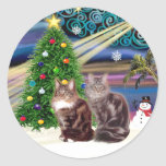 Xmas Magic - Two Maine Coon cats Stickers