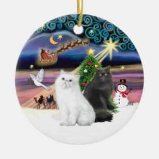 Xmas Magic - Two Persian Cats (white + black) Ceramic Ornament
