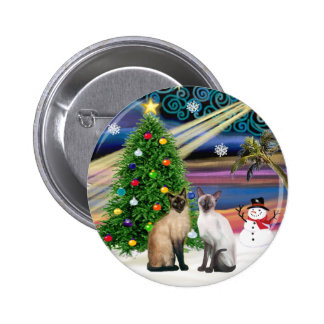 Xmas Magic - Two Siazmese cats (Seal + Choc) Pin