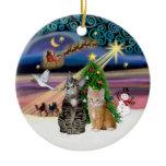 Xmas Magic - Two Tabby cats (#2) Ceramic Ornament