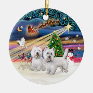 Xmas Magic - Two Westies Christmas Tree Ornament