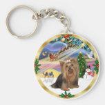 Xmas Magic (W) - Yorkshire Terrier Keychain