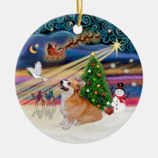 Xmas Magic - Welsh Corgi (Pembroke 7b) Double-Sided Ceramic Round Christmas Ornament
