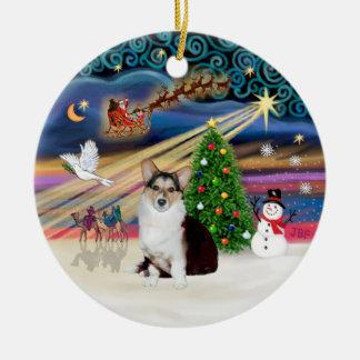 Xmas Magic - Welsh Corgi (tri color) Ceramic Ornament