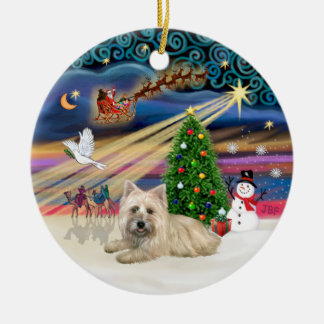 Xmas Magic - Wheaten Cairn Terrier #4 (lying) Double-Sided Ceramic Round Christmas Ornament