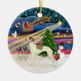 Xmas Magic - Whippet 3 (cream-brindle) Double-Sided Ceramic Round Christmas Ornament