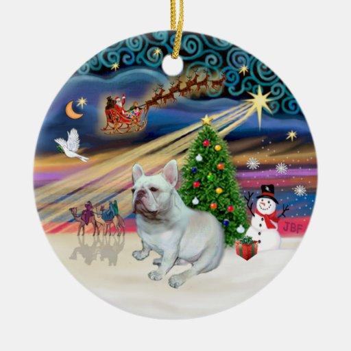 Xmas Magic - White French Bulldog Christmas Tree Ornament