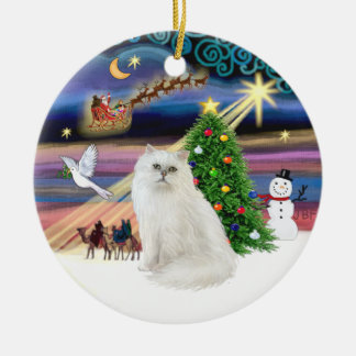Xmas Magic - White Persian cat Ceramic Ornament