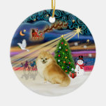 Xmas Magic - Wolf Sable Pomeranian Christmas Ornaments