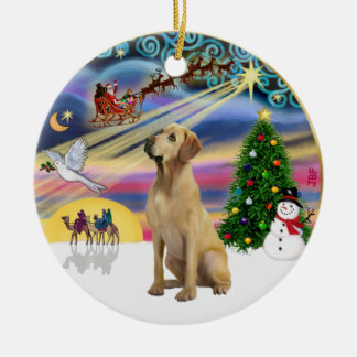 Xmas Magic - Yellow Lab Ceramic Ornament