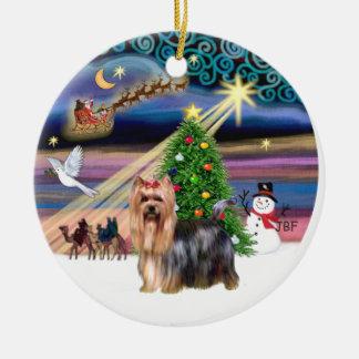 Xmas Magic - Yorkie 9 Double-Sided Ceramic Round Christmas Ornament