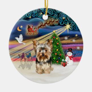 Xmas Magic - Yorkshire Terrier 17 Ceramic Ornament