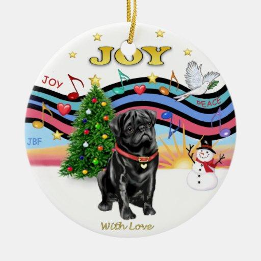 Xmas Music 1 - Black Pug Christmas Ornaments