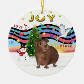 Xmas Music 1 - Brown Guinea Pig #3 Double-Sided Ceramic Round Christmas Ornament