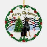 Xmas Music 1 - Doberman Pinscher 1 Ornaments