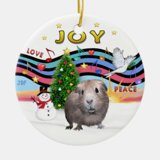 Xmas Music 1 -  Guinea Pig #2 Double-Sided Ceramic Round Christmas Ornament