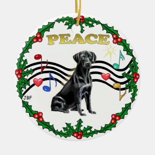 Xmas Music 1 - Labrador (black) Christmas Tree Ornaments