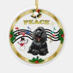 Xmas Music 1 - Peace-Black Cocker Christmas Tree Ornament