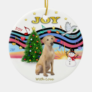 Xmas Music 1 - Yellow Labrador (F) Ceramic Ornament