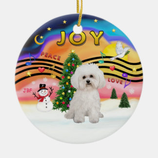 Xmas Music 2 - Bichon Frise 2 Ceramic Ornament